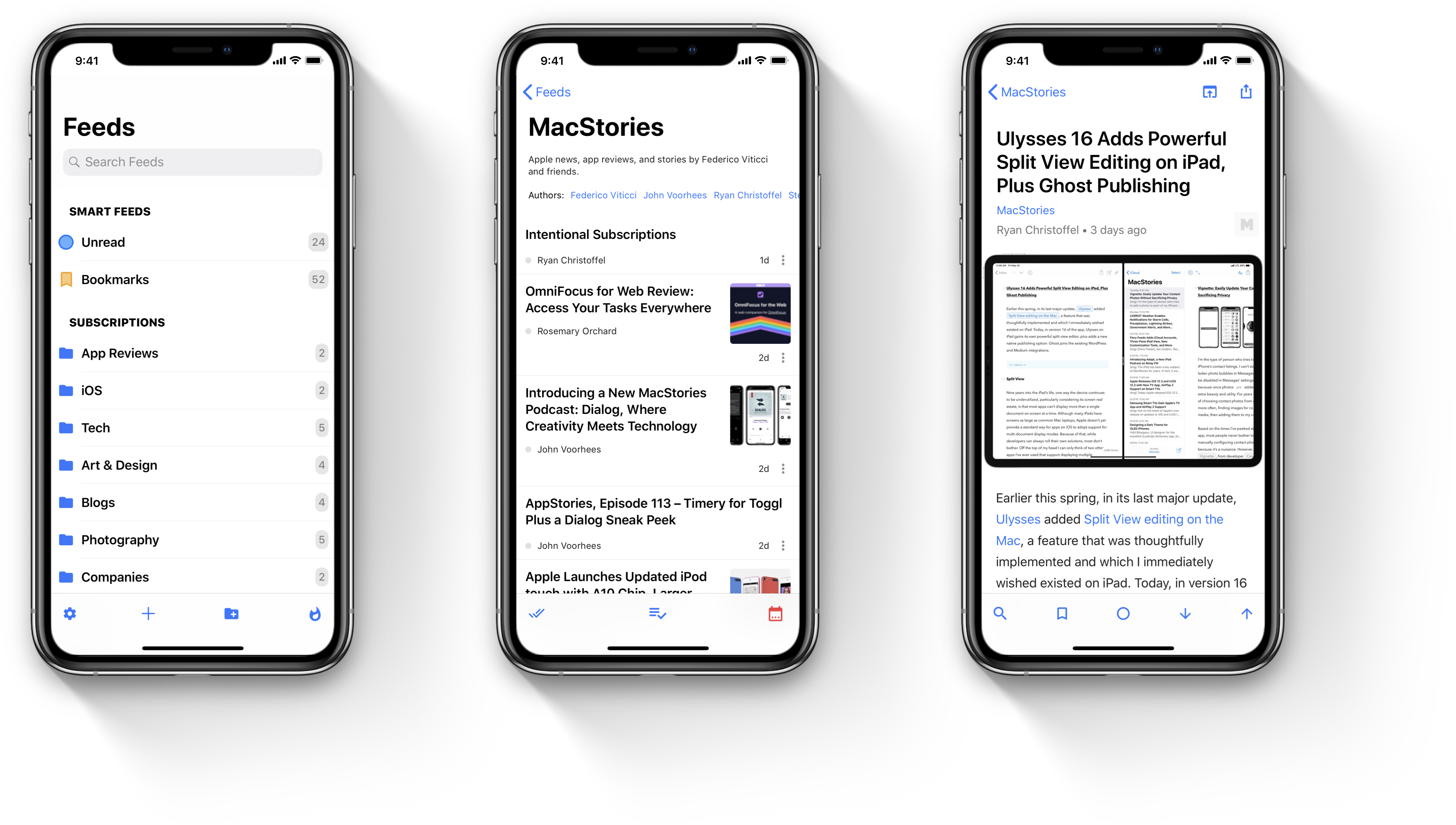 Toolbars on the iPhone XS across various primary interfaces in Elytra.