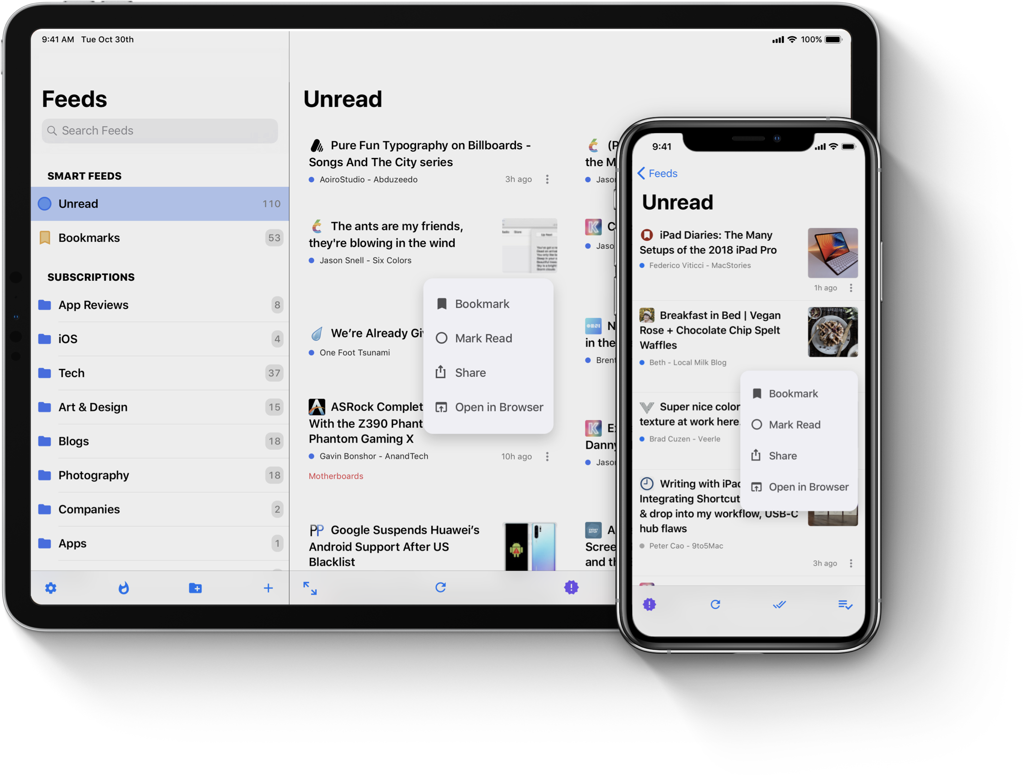 Menu support on the iPad Pro 12.9 inches and iPhone XS