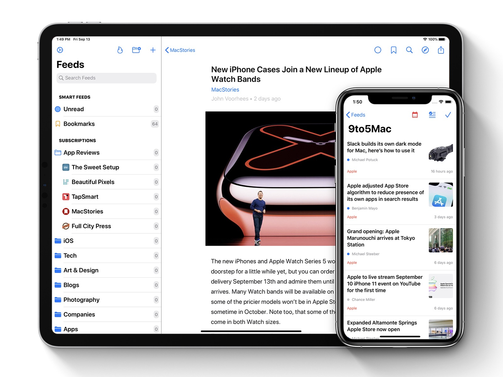 iPad: Article Reader. iPhone: Feed's Articles List.