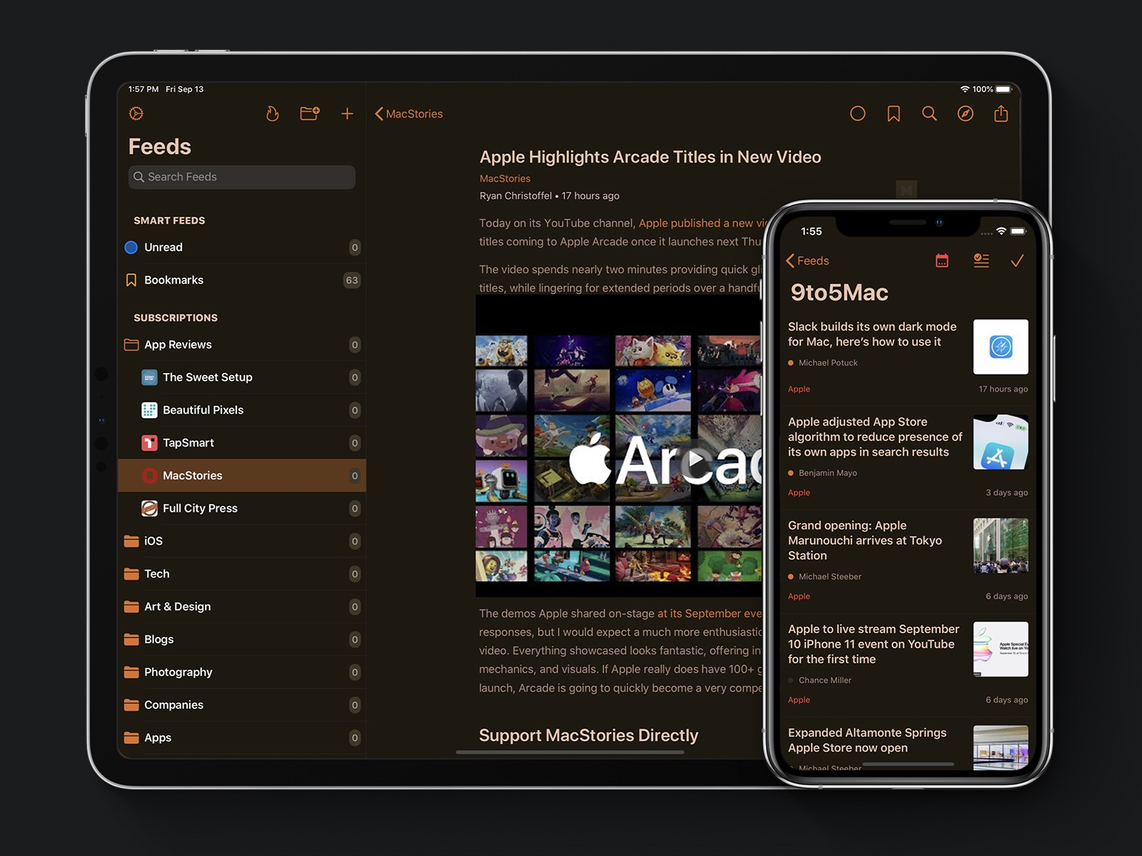 Dark Mode. iPad: Article Reader. iPhone: Feed's Articles List.
