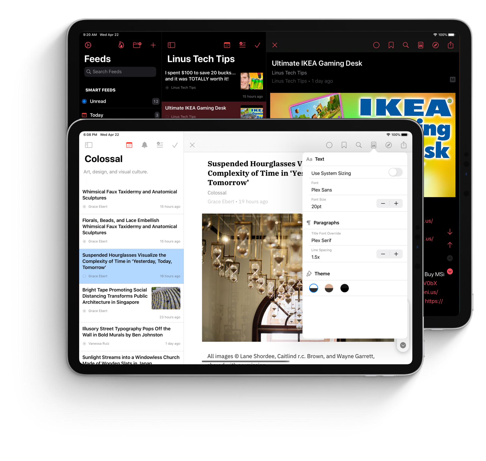 Elytra running on iPadOS showing Native Youtube Rendering and the new Customisation View for the Article Reader.