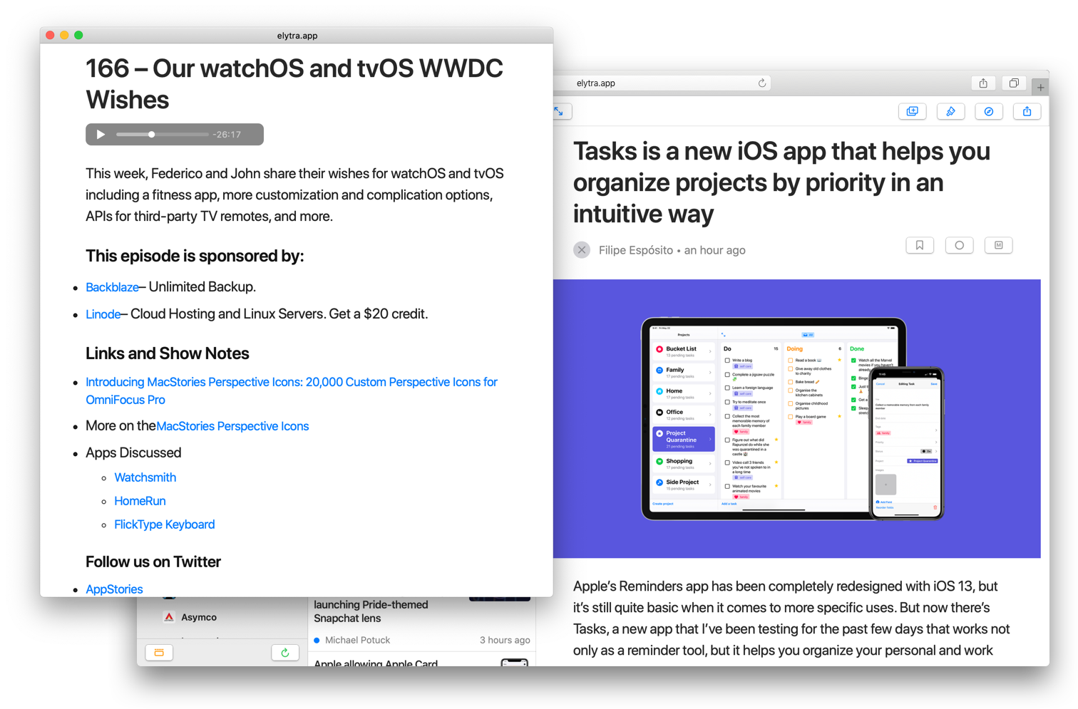 Elytra Web in Safari with Article open with a seaprate window open with a podcast playing.