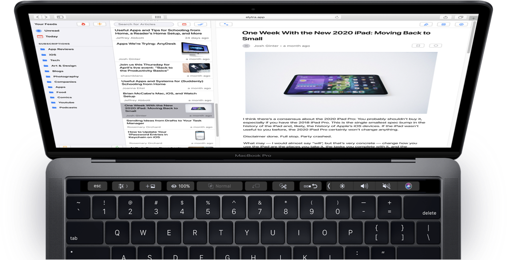 Elytra Web in Safari with Article open.