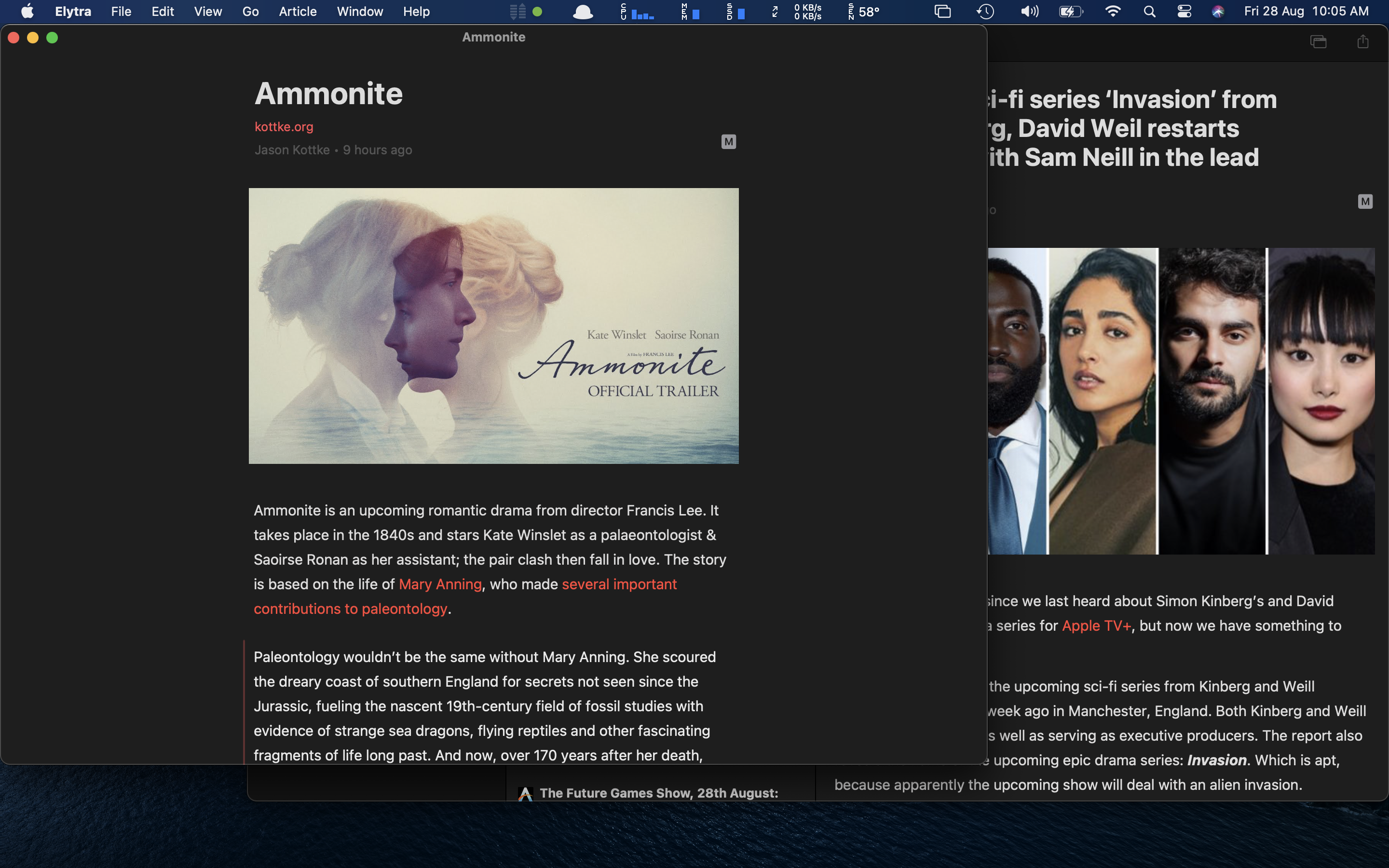Elytra on Big Sur will also bring Multiwindow support similar to the Web App for opening Articles in separate windows.