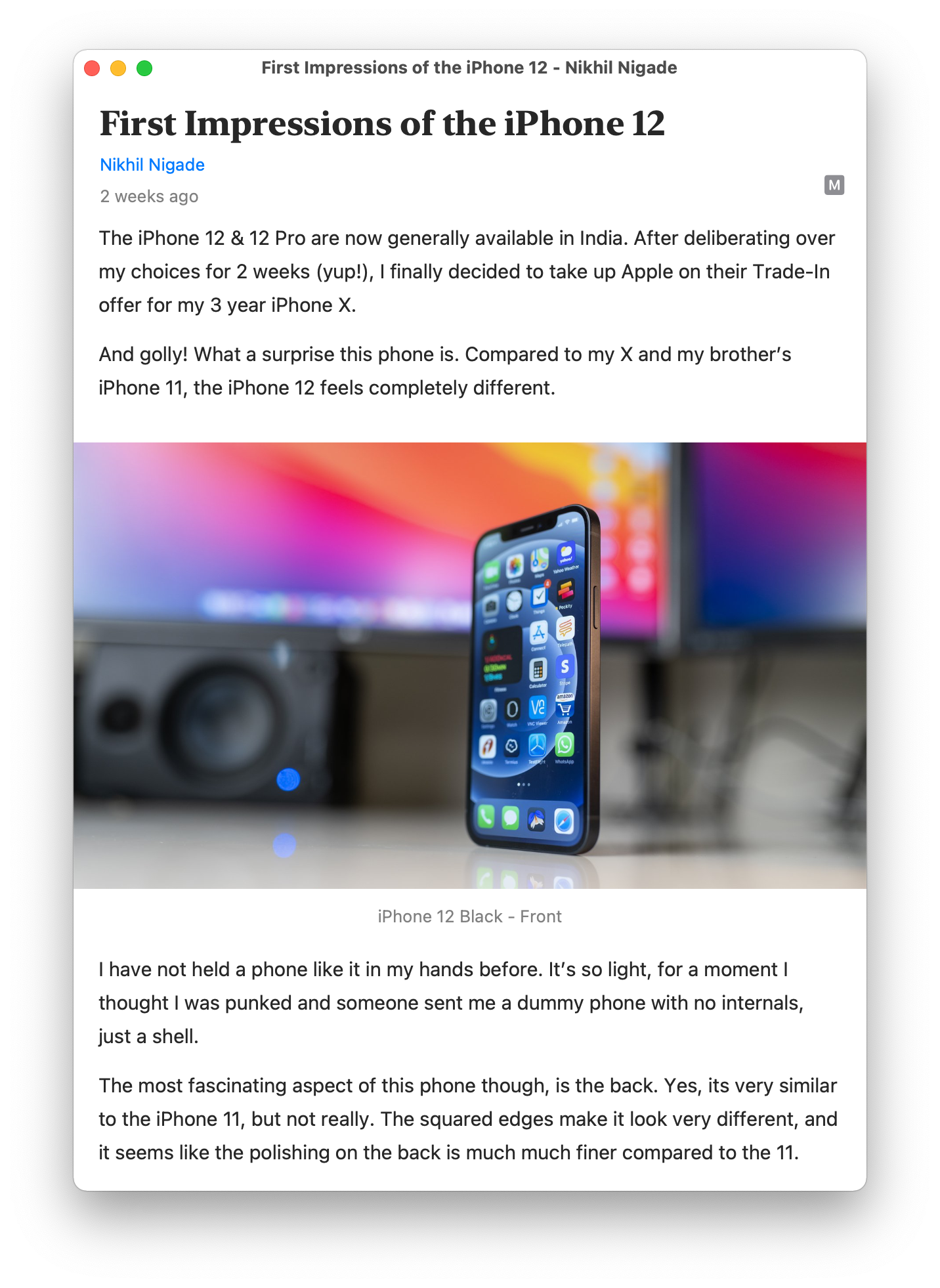 My iPhone 12 first impressions article in Elytra on macOS Big Sur