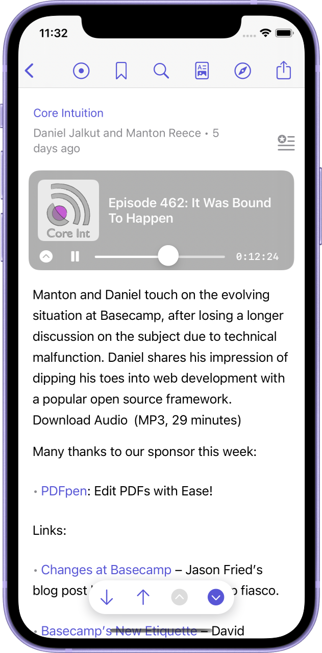 The new mini audio player playing the Core Intution podcast's Episode 462