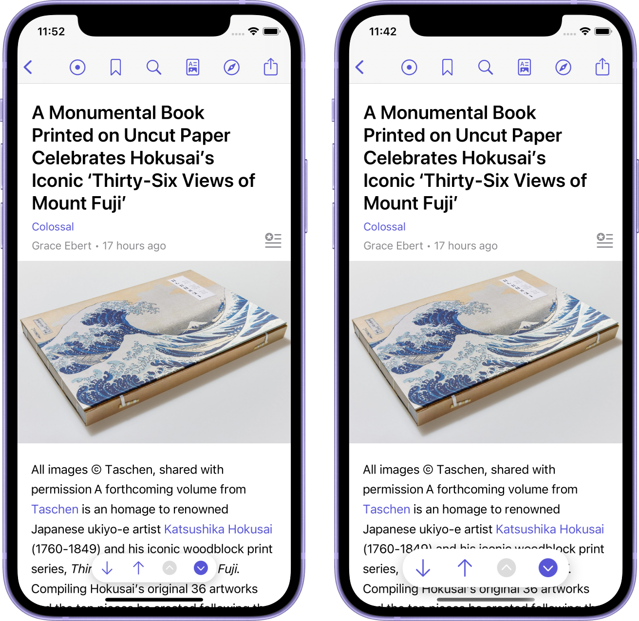 The two new reader bar sizes: The small size on the left and the large size on the right.