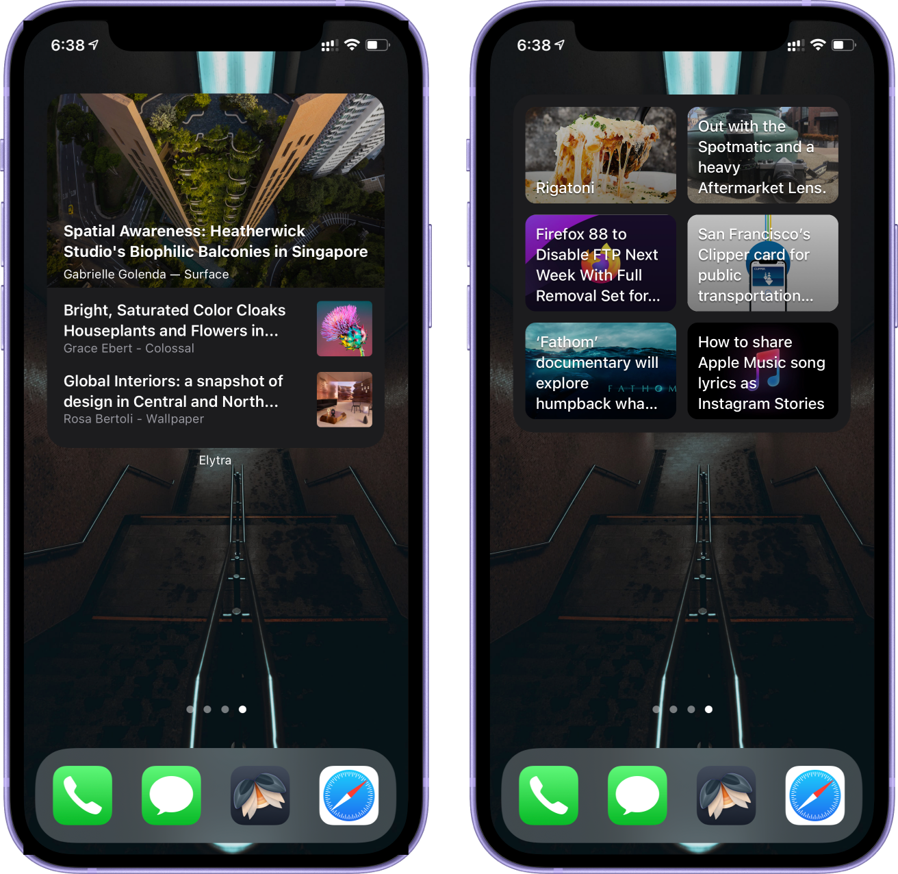 Elytra's new Folders and Bloccs widgets running on ithe iPhone 12.